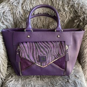 Sharif Purple Leather Bag w/Zebra Calfskin Flap
